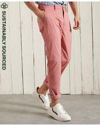 Superdry Pantalones chinos ajustados de algodón orgánico Core - Rosa