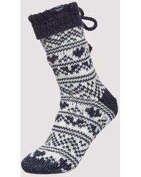 Superdry Heart Fairisle Slipper Socks - Blue
