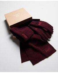 Superdry Conjunto para regalo de bufanda, guantes y gorro de la colección - Rojo