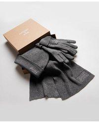 Superdry Conjunto para regalo de bufanda, guantes y gorro de la colección - Gris
