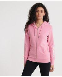 Superdry Swiss Logo Unbrushed Zip Hoodie - Pink