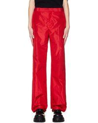 Balenciaga Red Silk Trousers