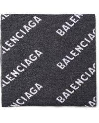 Balenciaga Шерстяной Шарф 50/50 All Over Logo - Серый