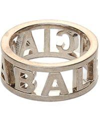 Balenciaga Серебристое Кольцо Logo - Металлик