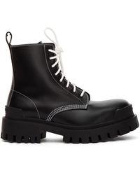 Balenciaga Кожаные Ботинки Strike С Белыми Шнурками - Черный