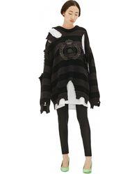 Balenciaga Рваный Свитер С Логотипом - Черный