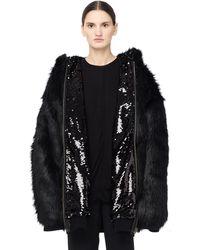 Faith Connexion - Reversible Fake Fur Sequined Coat - Lyst