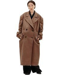 Maison Margiela Двубортное Пальто - Коричневый