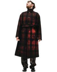Yohji Yamamoto Клетчатое Пальто С Принтом - Красный