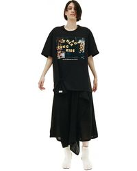 Doublet T-shirt With Lettering & Pouch - Black