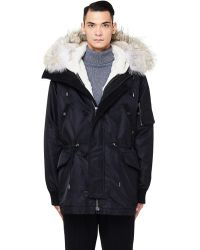 Yves Salomon - Black Rabbit Fur Lined Parka - Lyst