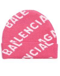 Balenciaga Pink All Over Logo Beanie