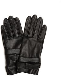 Yohji Yamamoto Leather Gloves With Contrast Stitches - Black