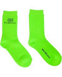Balenciaga Зеленые Носки С Логотипом - Зеленый