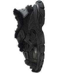Balenciaga Черные Сандалии Track С Мехом - Черный