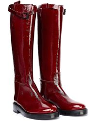 Ann Demeulemeester Красные Кожаные Сапоги - Красный