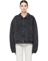 Yeezy - Black Washed Denim Zip Up Jacket - Lyst