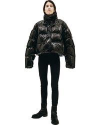 Balenciaga Укороченный Лакированный Пуховик - Черный