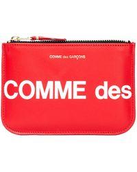Comme des Garçons Красный Кожаный Кошелек С Логотипом
