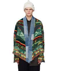 Greg Lauren Зеленая Куртка-накидка С Джинсовыми Вставками - Зеленый