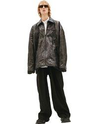 Balenciaga Кожаная Куртка С Потертостями - Черный