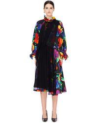 Balenciaga Шелковое Платье С Цветочным Принтом - Многоцветный