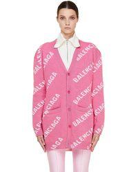 Balenciaga Pink Logo Wool Cardigan
