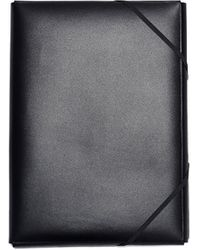 Isaac Reina Black Leather A4 Documents Folder