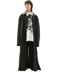 Balenciaga Черное Кожаное Пальто - Черный