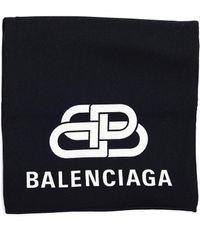 Balenciaga - Black & White Wool Bb Scarf - Lyst