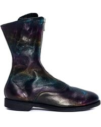 Guidi Rainbow Leather Zip Boots - Blue