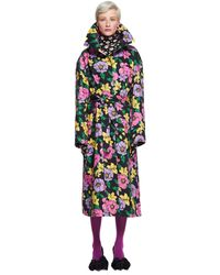 Balenciaga Cotton Flower Printed Trench Coat - Multicolour