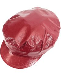 Ann Demeulemeester Leather Cap - Red