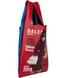 Balenciaga Red & Blue Leather Supermarket M Bag