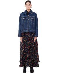 Junya Watanabe Flower Dress With Denim Jacket - Blue