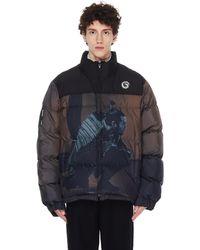 Undercover Brown Printed Down Jacket - Black