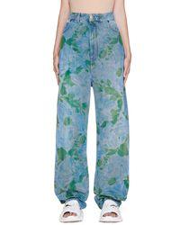 Balenciaga Blue Printed Baggy Jeans