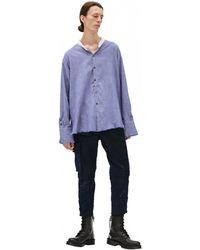 Greg Lauren Хлопковая Рубашка С Необработанными Краями - Синий