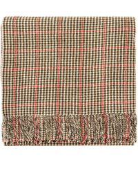 Undercover Black & Beige Checked Wool Scarf - Natural