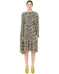 Balenciaga - Шелковое Драпированное Платье С Принтом - Lyst