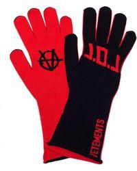 Vetements Black & Red L.o.l. Gloves