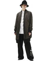 Isaac Sellam Long Leather Bomber Jacket - Black