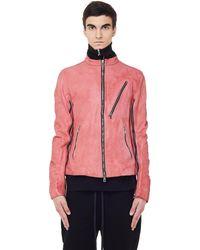 The Viridi-anne Pink Leather Jacket