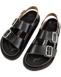 Jil Sander X Birkenstock Leather Sandals In Black