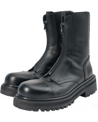 Vetements Zipped Leather Boots - Black
