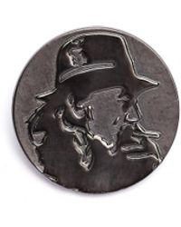 Yohji Yamamoto Round Pin With Yohji's Profile - Grey