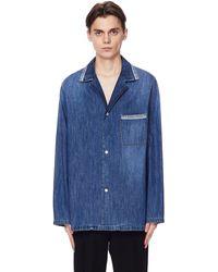 Maison Margiela Рубашка Из Тонкого Денима - Синий