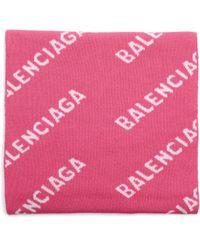Balenciaga Розовый Шерстяной Шарф All Over