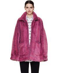 Doublet Pink Faux Fur Printed Coat