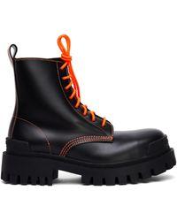 Balenciaga Кожаные Ботинки Strike Platform - Черный